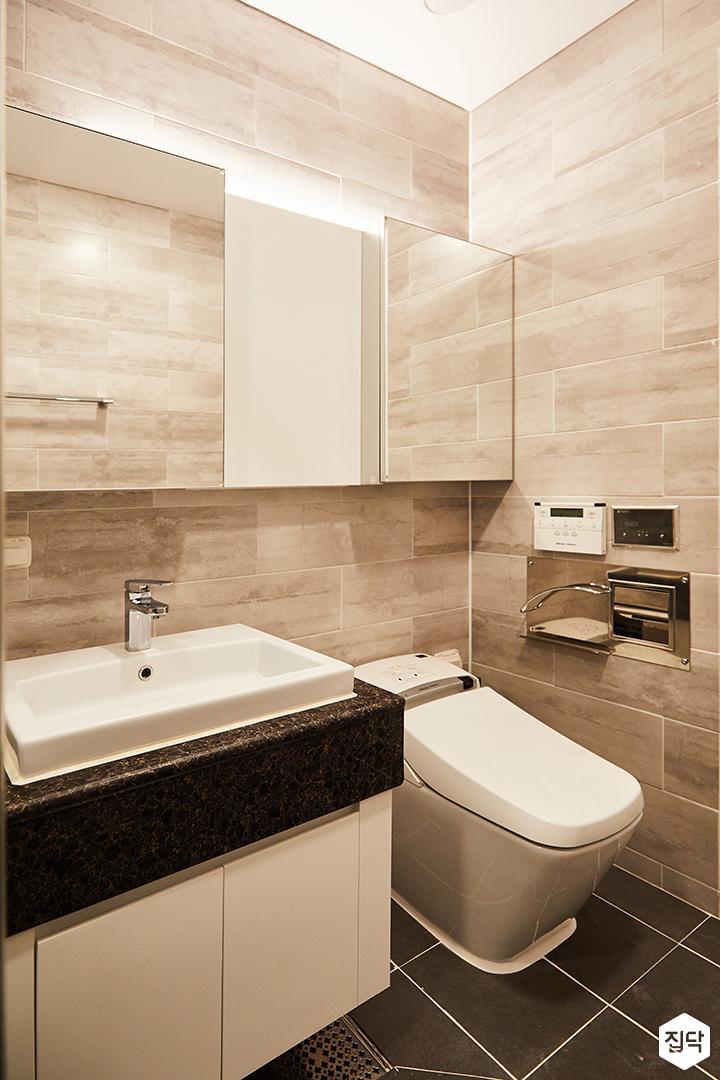 욕실,그레이,모던,세면대,슬라이딩거울장,간접조명,양변기