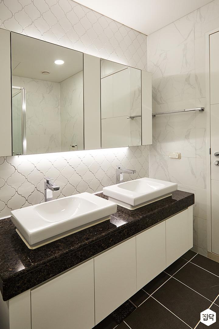 욕실,화이트,모던,세면대,간접조명