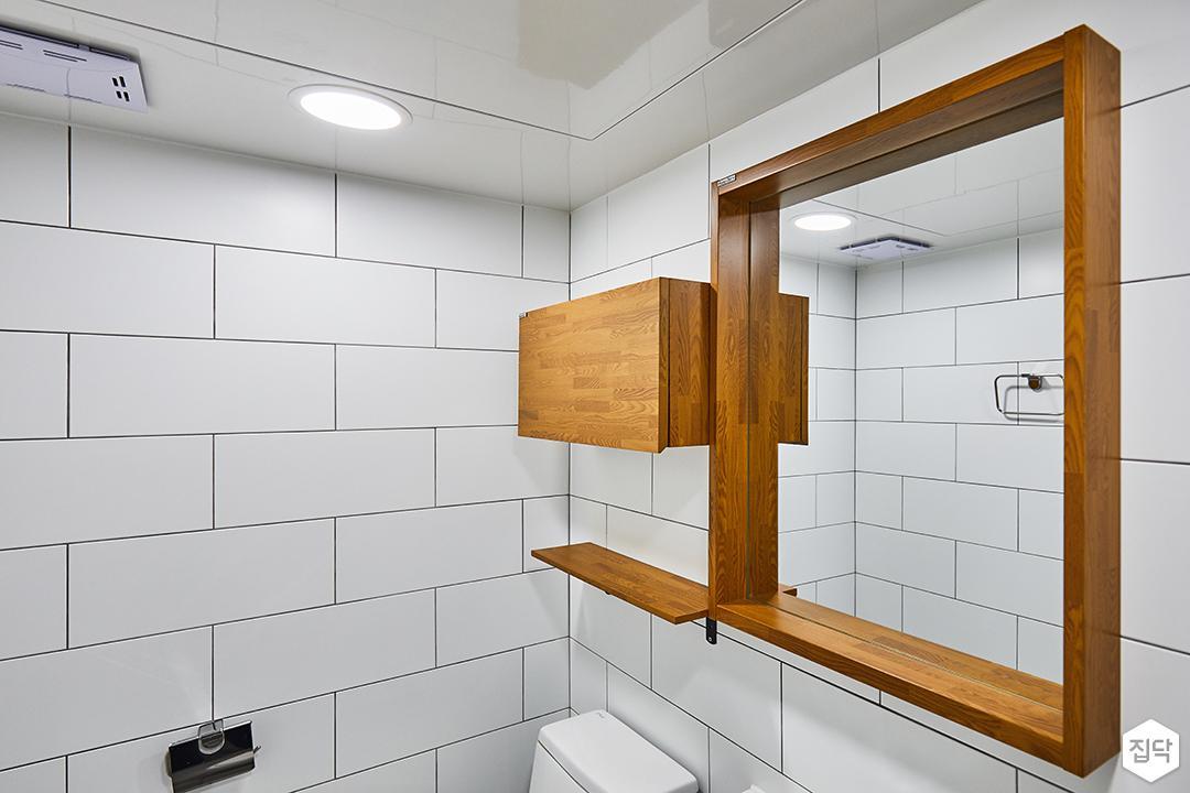 욕실,화이트,심플,우드,무지주선반,디자인거울,세면대