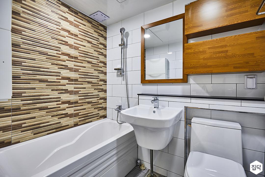 욕실,화이트,심플,디자인거울,무지주선반,세면대,욕조