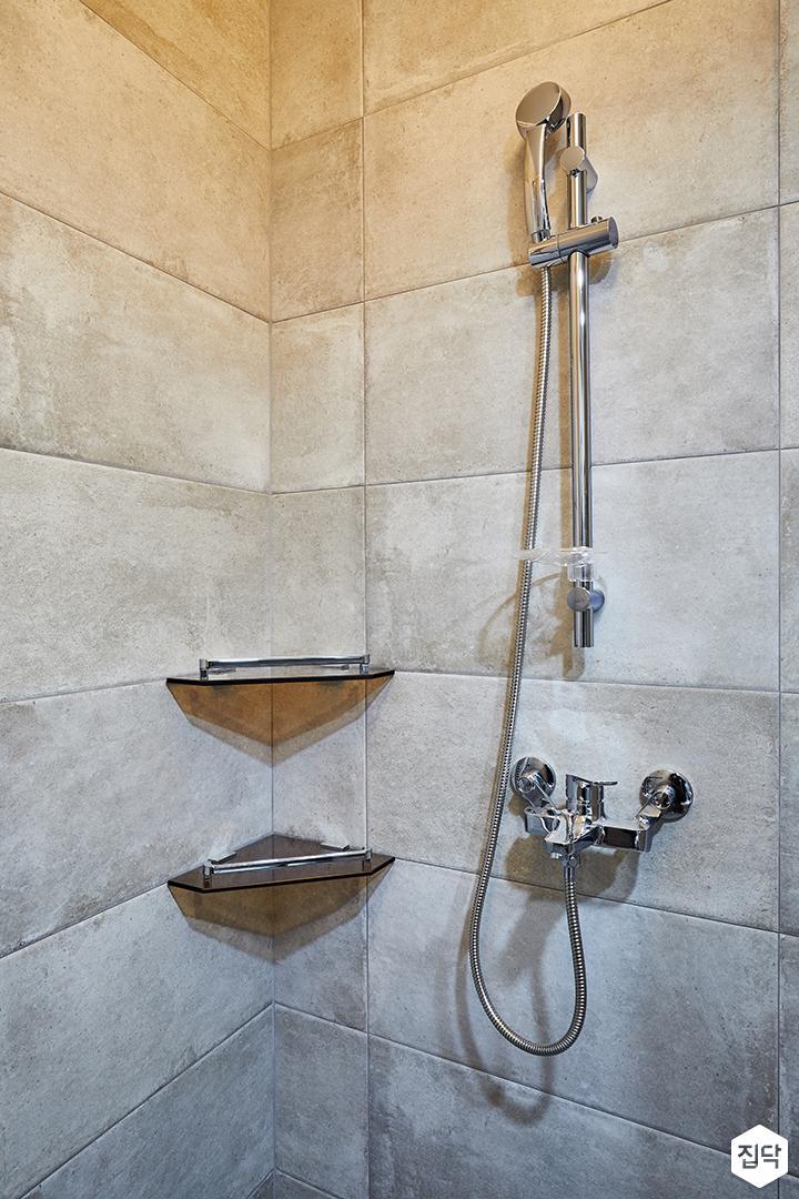 욕실,그레이,빈티지,샤워부스,코너선반