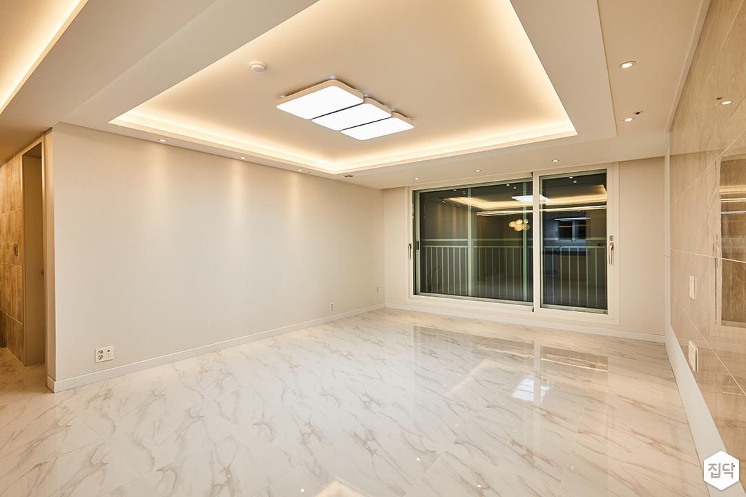 거실,화이트,모던,LED조명,간접조명,다운라이트조명,비앙코카라라