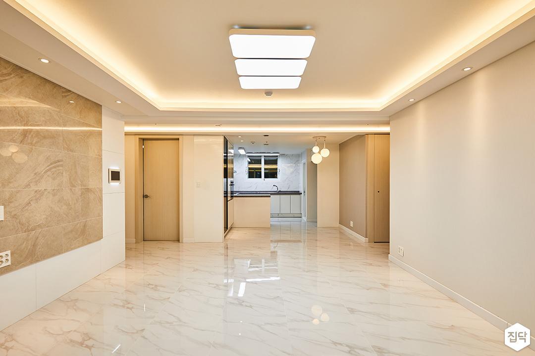 거실,화이트,모던,LED조명,간접조명,다운라이트조명,비앙코카라라,아트월