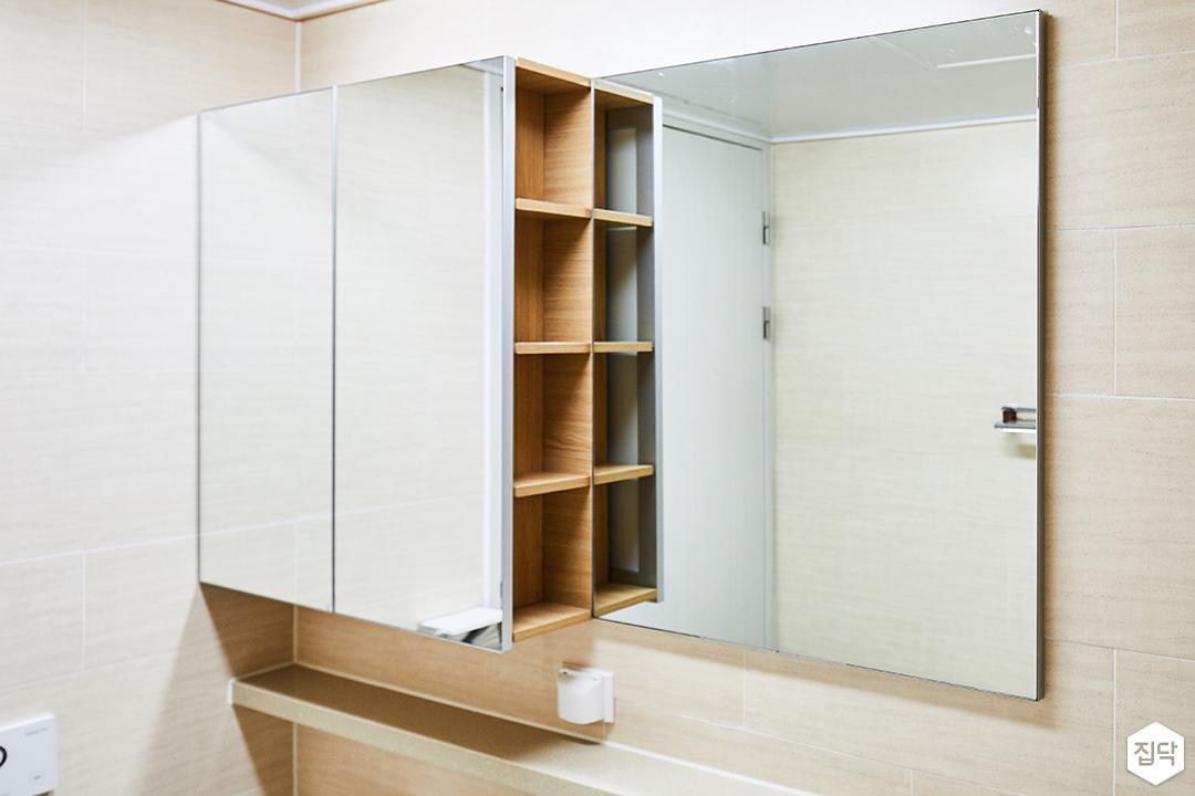 안방욕실,브라운,내츄럴,거울,거울장,선반,수납공간