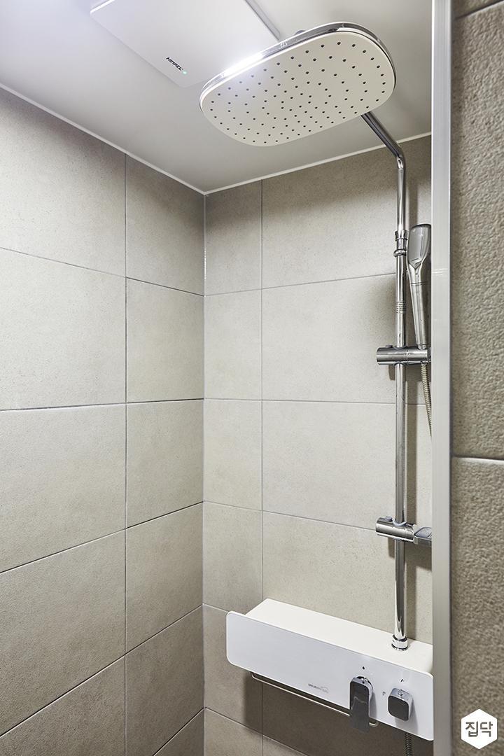 욕실,베이지,심플,샤워부스,해바라기샤워기