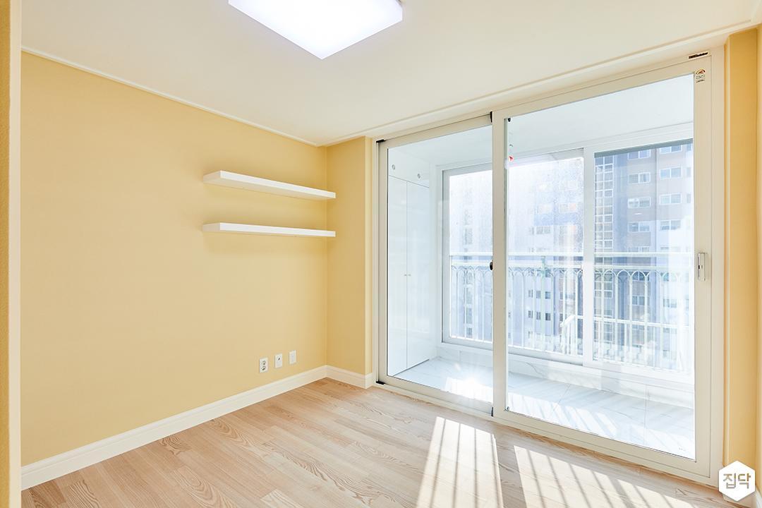 큰방,옐로우,심플,LED조명,무지주선반