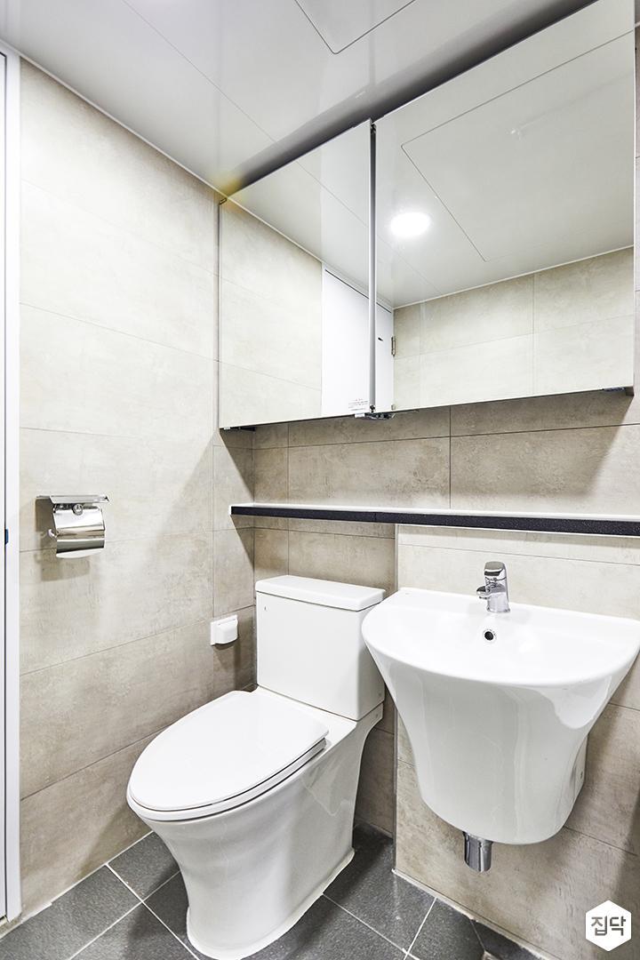 욕실,그레이,심플,슬라이딩거울장,젠다이,세면대,양변기