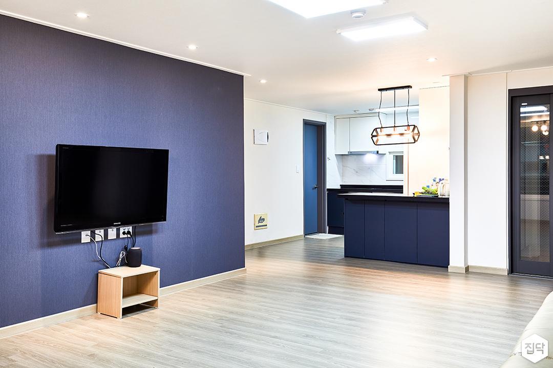 거실,블루,화이트,심플,LED조명,다운라이트조명
