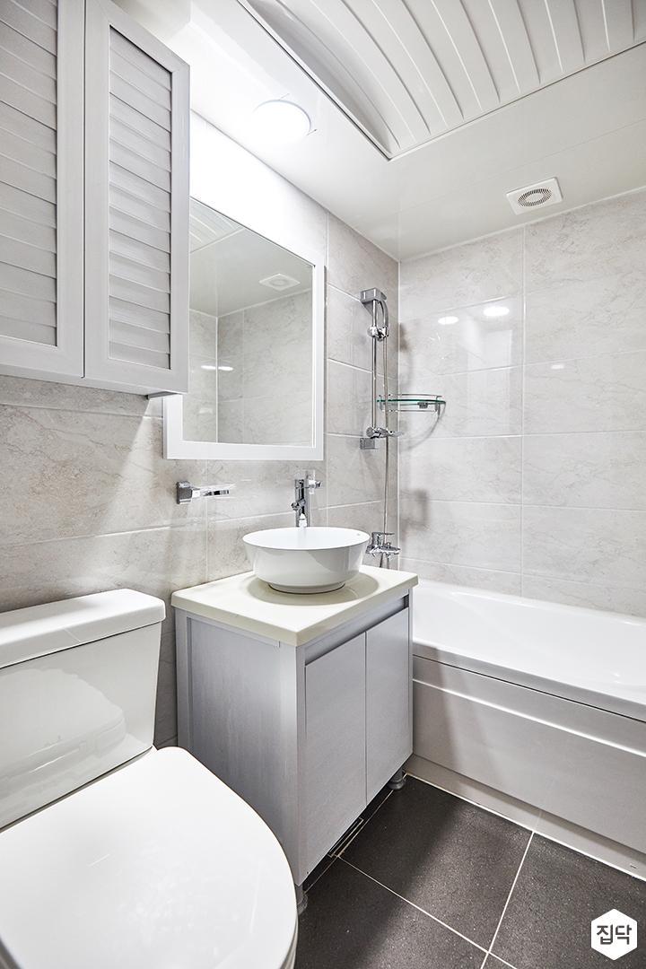 화이트,심플,욕실,세면대,욕조,거울,그레이,다운라이트조명