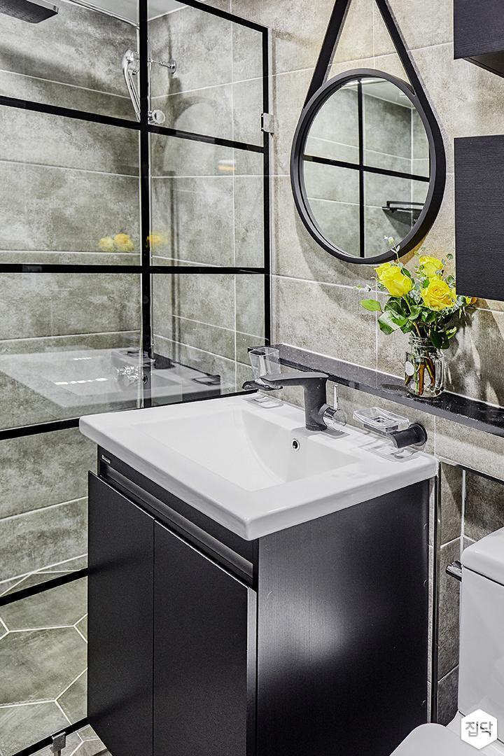 그레이,욕실,모던,세면대,거울,코너선반