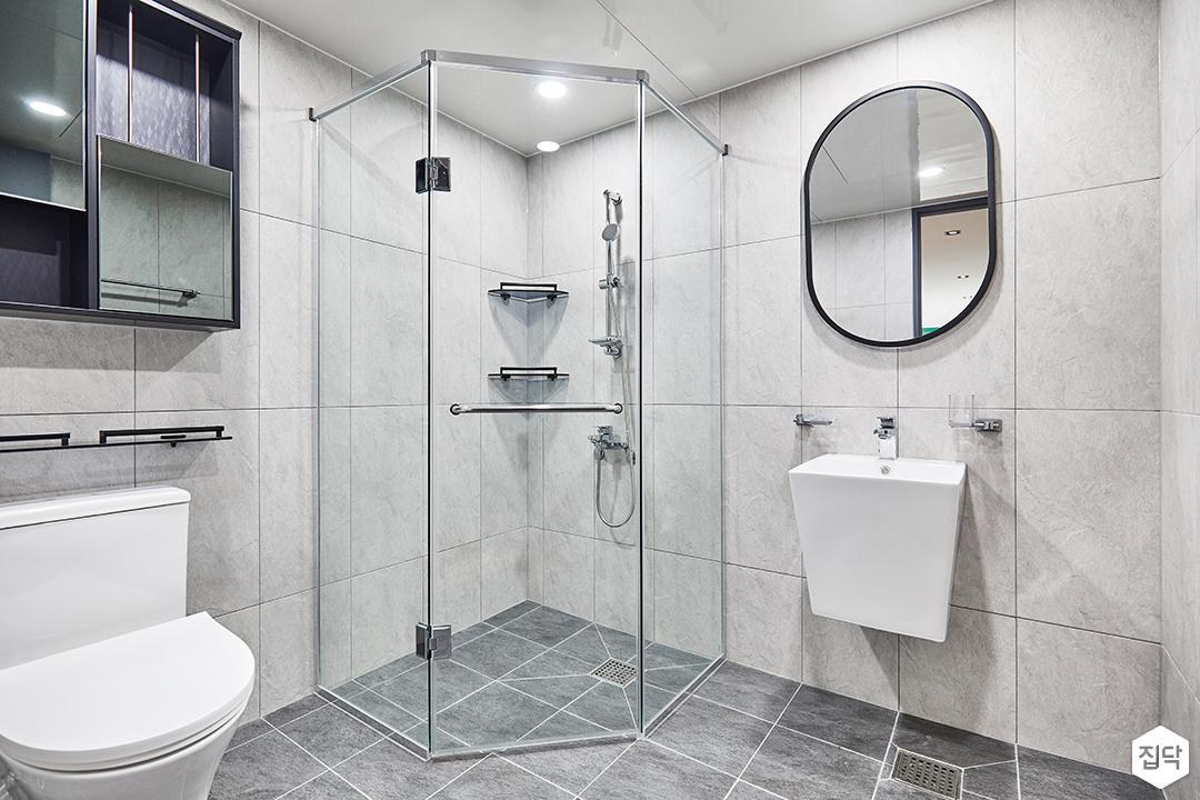 샤워부스,유리파티션,욕실,화이트,심플,세면대,거울