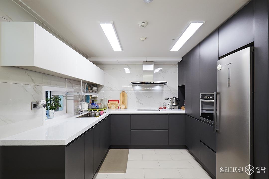 주방,싱크대,LED조명,다크그레이,화이트