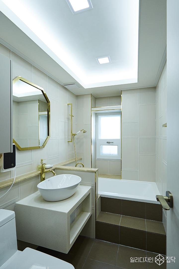 화장실,베이지,골드,거울,수전