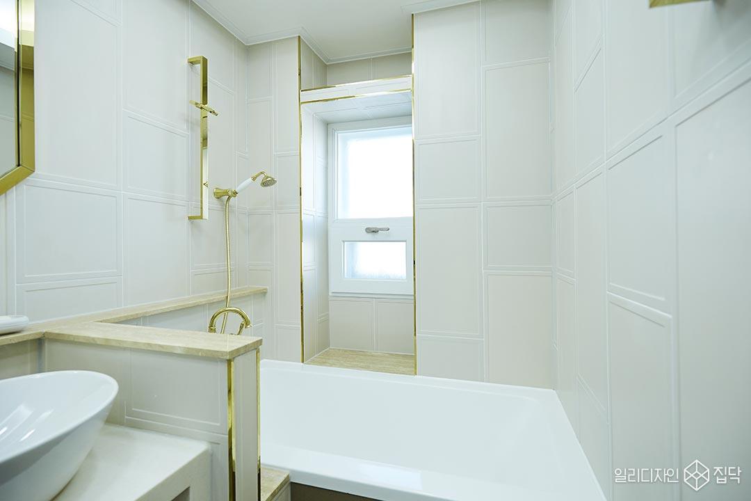 화장실,액자타일,베이지,골드,욕조