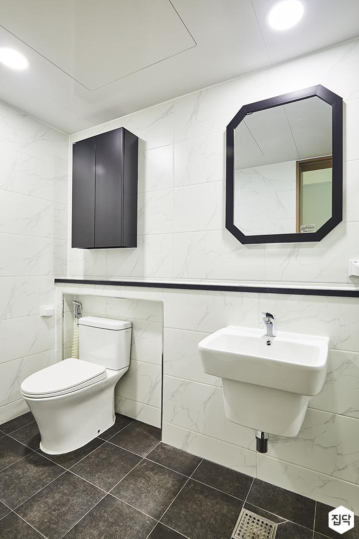 욕실,다크그레이,비앙코카라라패턴,모던,젠다이,화이트,세면대,양변기