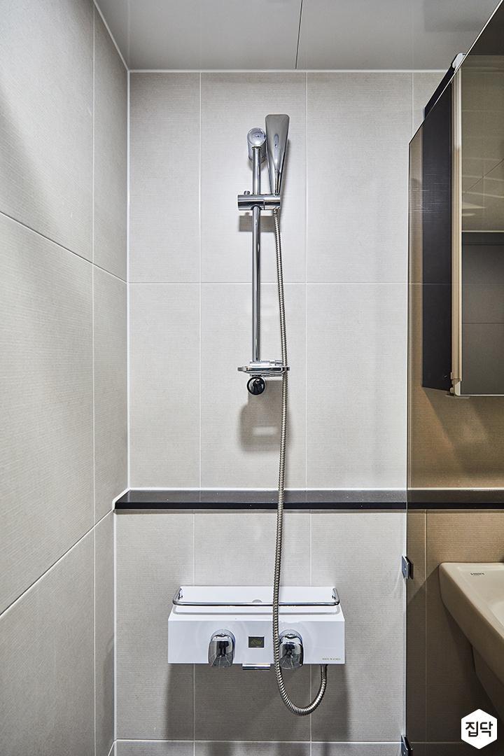 샤워부스,젠다이,아이보리,욕실,유리파티션