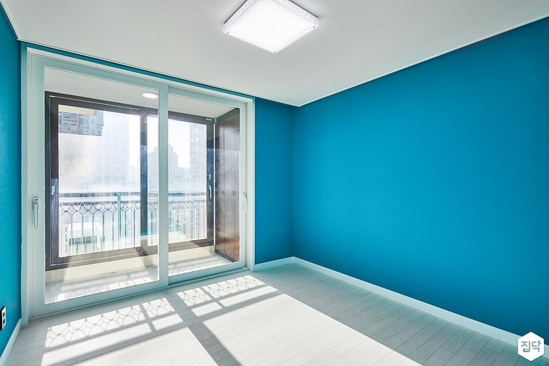 방,모던,블루,벽지