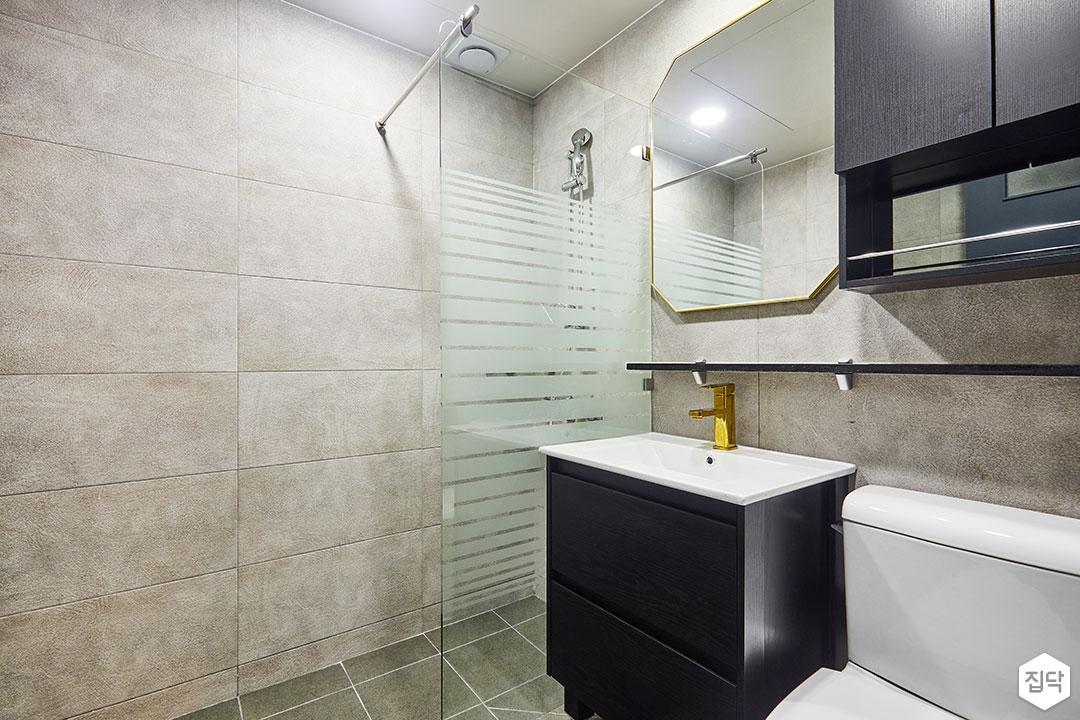 욕실,그레이,모던,세면대,블랙,유리,선반,유리파티션