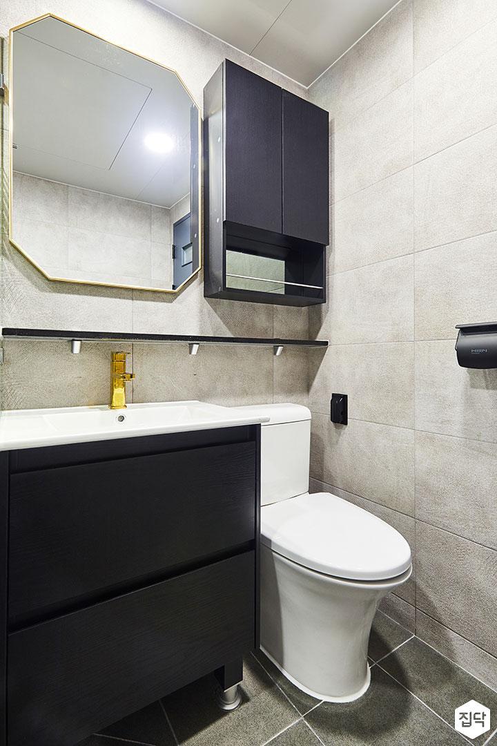 욕실,그레이,모던,세면대,블랙,선반,거울,수납장