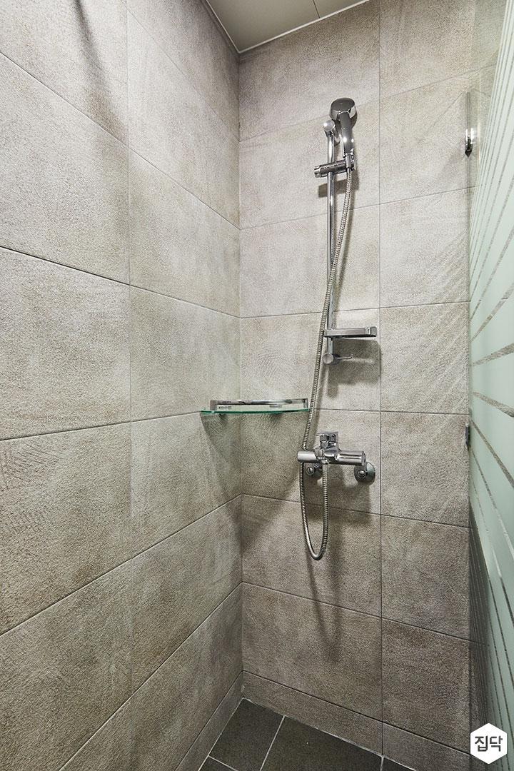 샤워부스,그레이,모던,코너선반