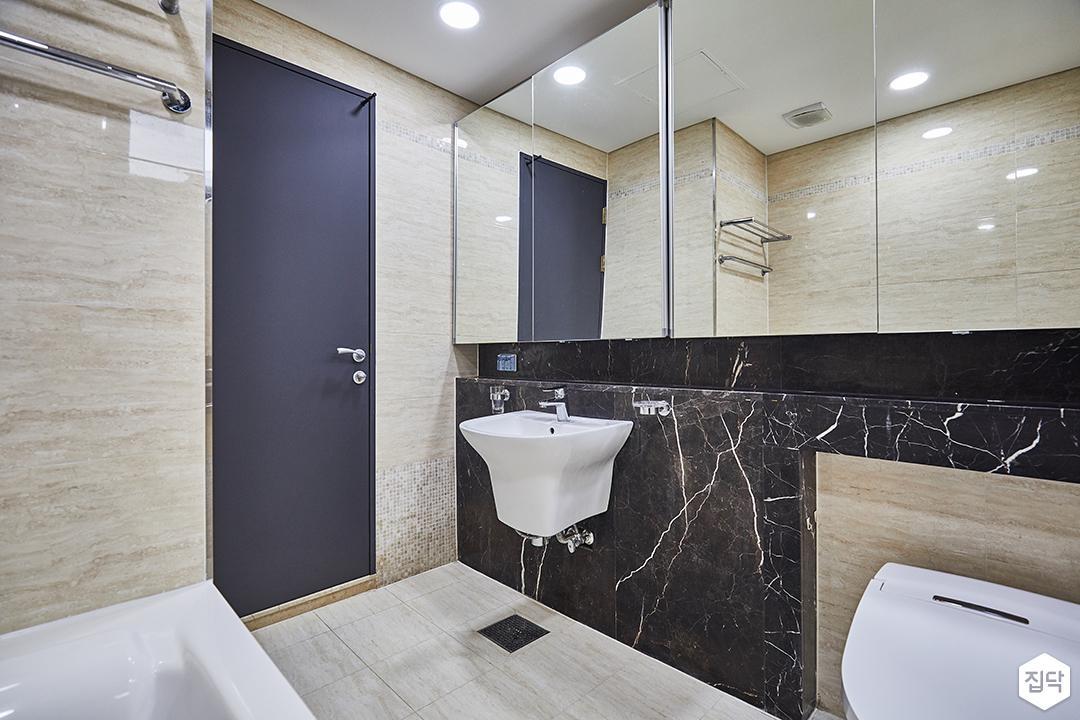 욕실,아이보리,럭셔리,세면대,젠다이,거울,매트그레이