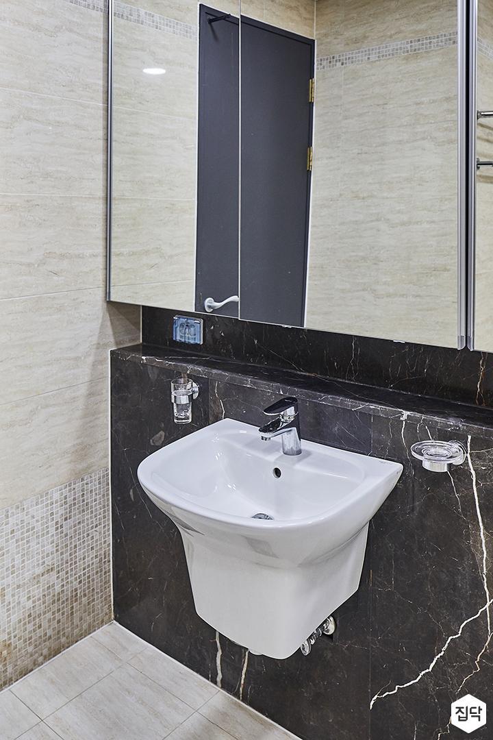 욕실,아이보리,럭셔리,세면대,젠다이,거울,매트그레이,다크그레이