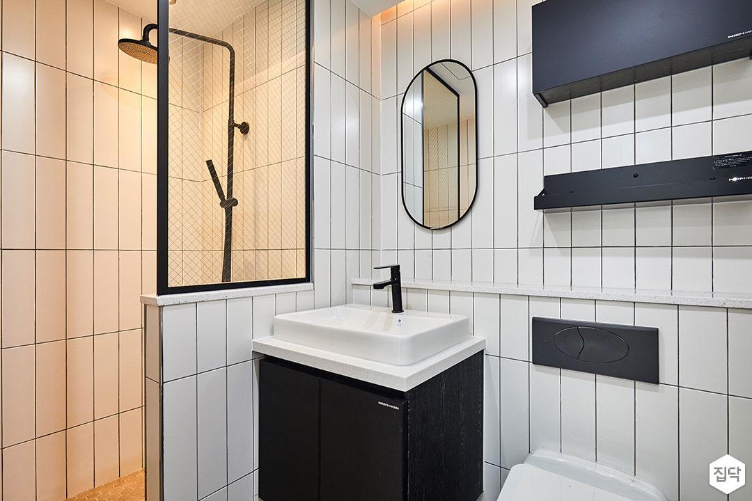욕실,화이트,심플,블랙,세면대,파티션,가벽,거울,수납장