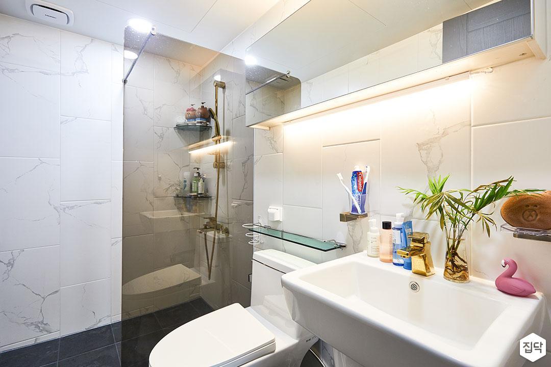 욕실,화이트,심플,세면대,유리파티션,샤워부스,간접조명