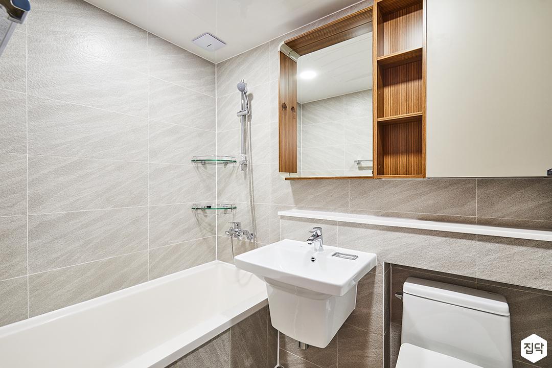 욕실,그레이,모던,슬라이딩거울장,젠다이,욕조,세면대,코너선반,대리석패턴