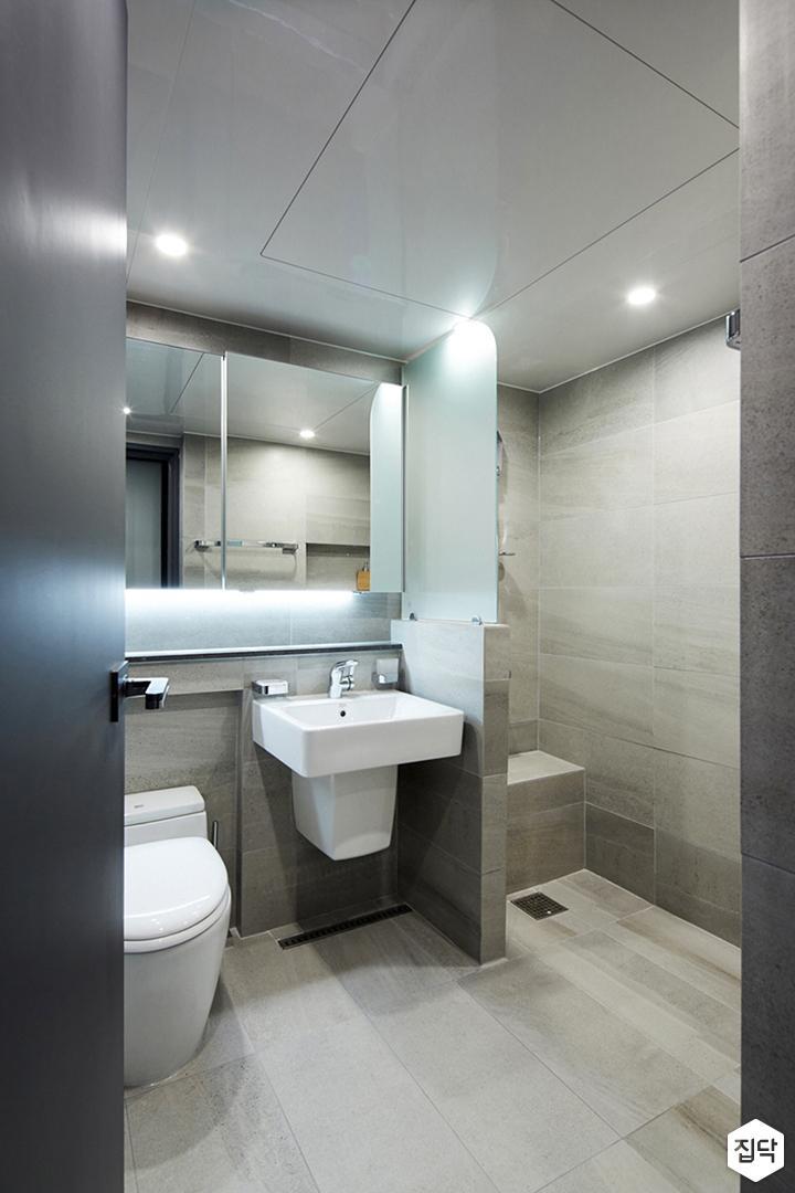 욕실,그레이,모던,간접조명,세면대,가벽,유리파티션,다운라이트조명