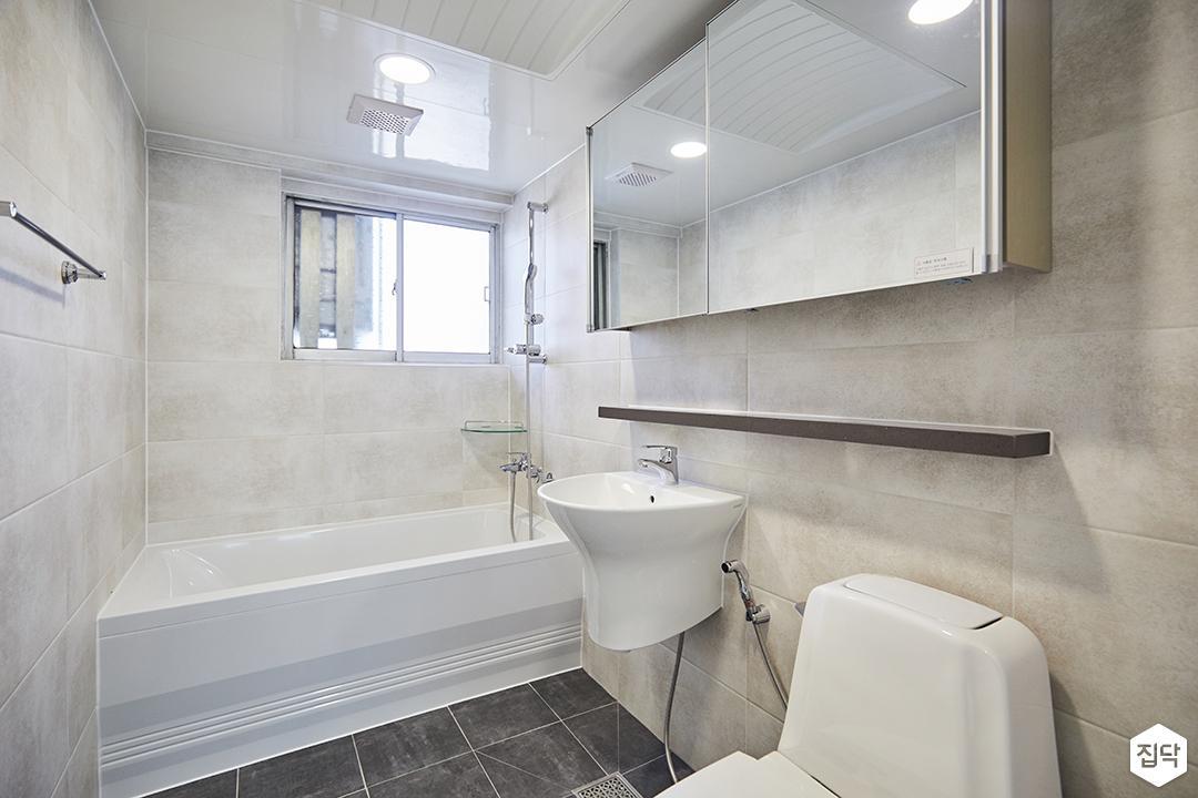 베이지,심플,모던,슬라이딩거울,세면대,욕조,포세린타일,화장실