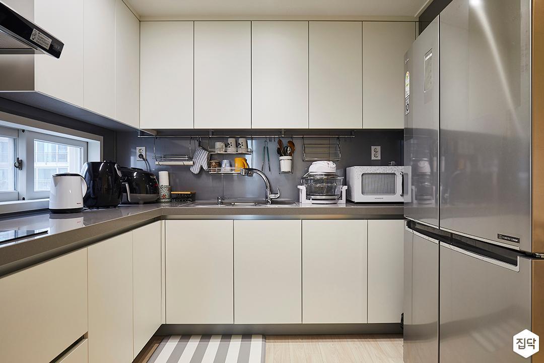 주방,모던,심플,화이트,그레이,ㄱ자싱크대,냉장고장