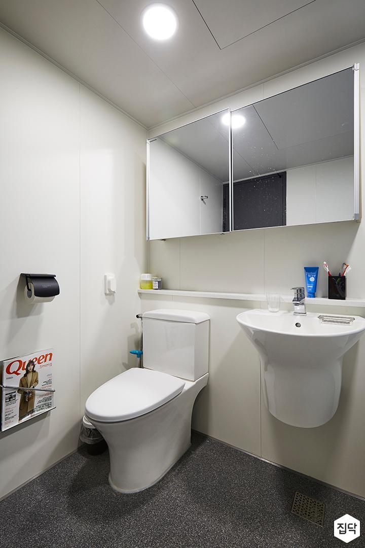 욕실,모던,심플,화이트,슬라이딩거울장,젠다이,양변기,세면대