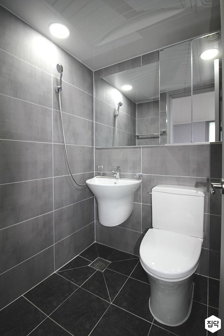 그레이,블랙,심플,세면대,슬라이딩거울,포세린타일,화장실
