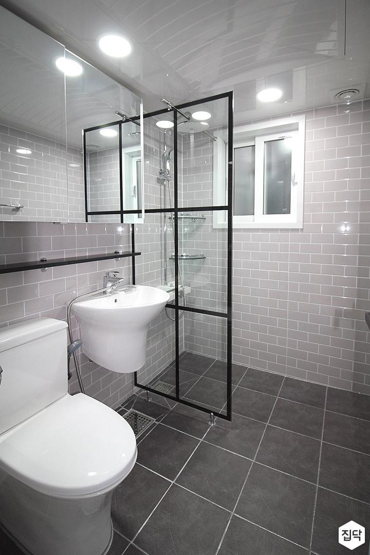 그레이,모던,슬라이딩거울,세면대,자기질타일,화장실
