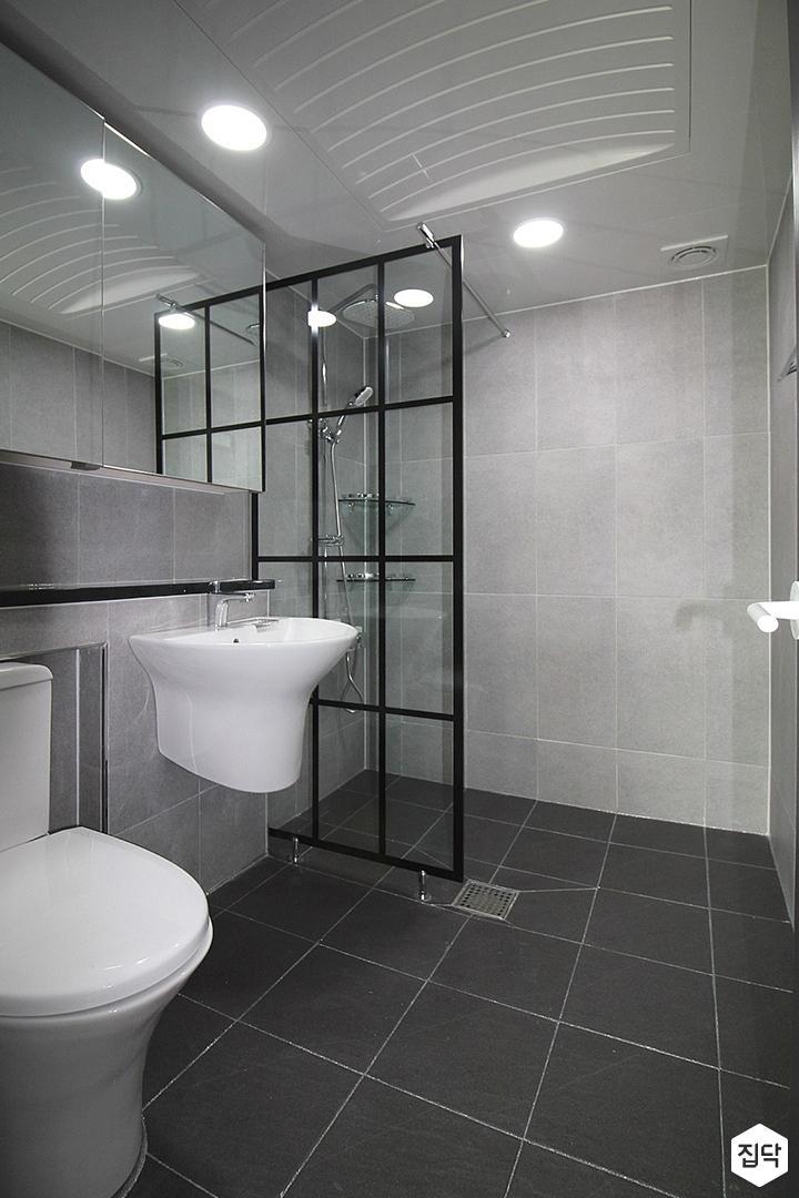 그레이,심플,모던,슬라이딩거울,세면대,포세린타일,화장실