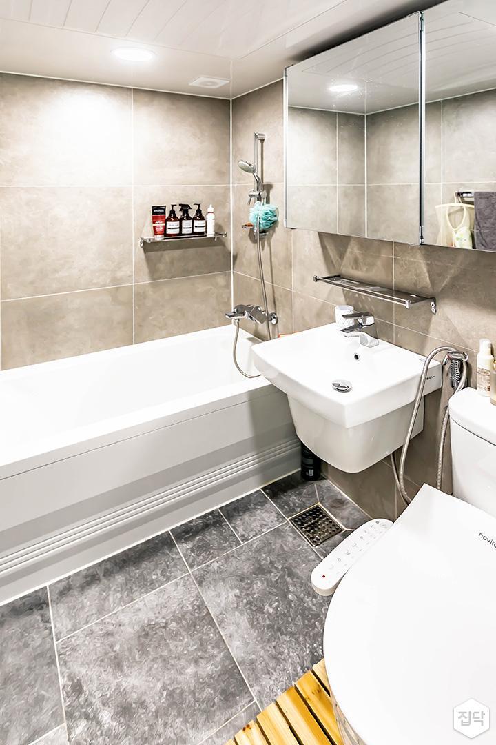 아이보리,심플,모던,슬라이딩거울,세면대,욕조,포세린타일,화장실