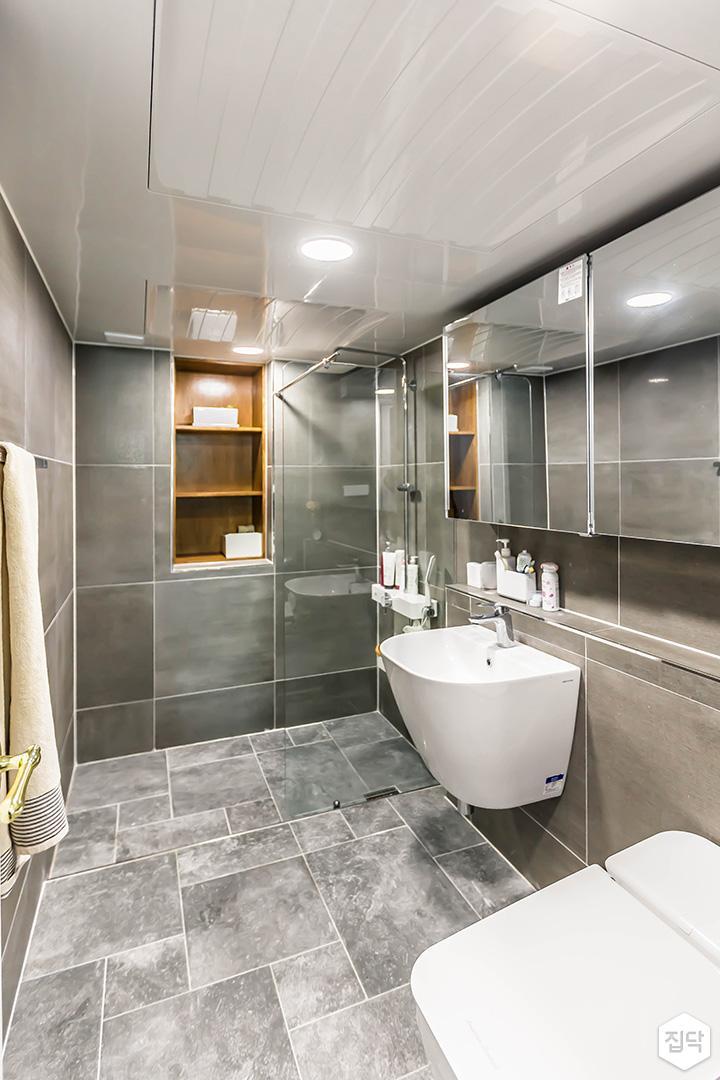 그레이,심플,모던,포세린타일,슬라이딩거울,세면대,화장실