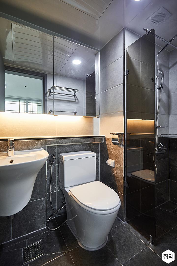 그레이,심플,모던,수납거울,간접조명,세면대,화장실