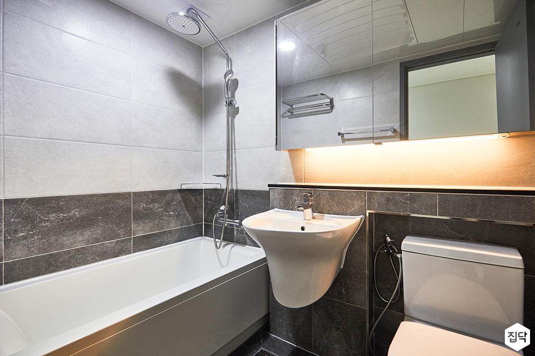 화이트,그레이,심플,모던,간접조명,수납거울,세면대,화장실