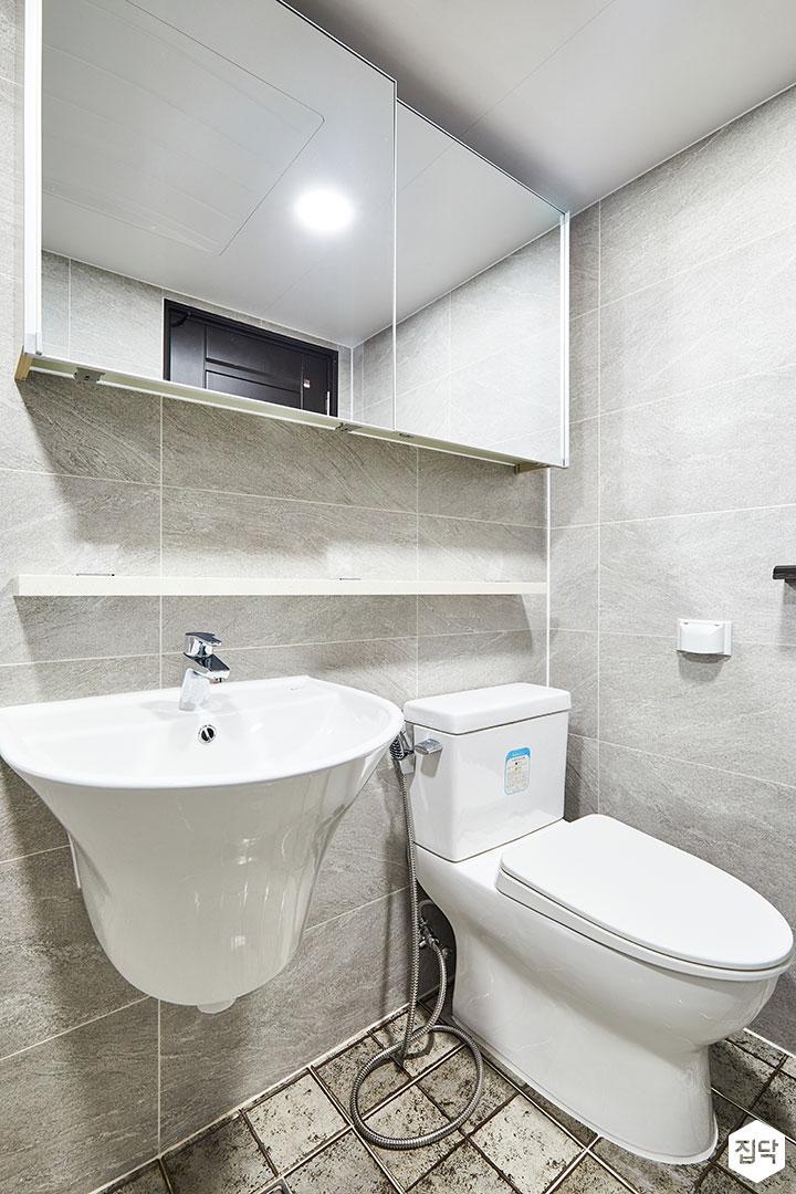 욕실,그레이,모던,슬라이딩거울장,무지주선반,세면대