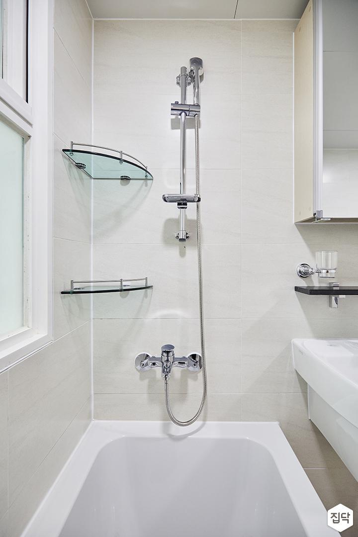 화이트,심플,모던,샤워기,욕조,수납선반