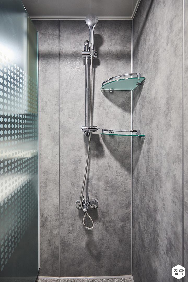 그레이,심플,모던,샤워기,수납선반,샤워룸