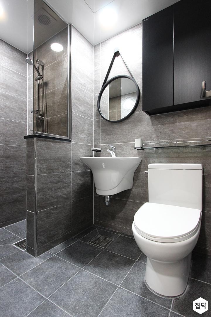 욕실,그레이,모던,세면대,가벽,유리파티션