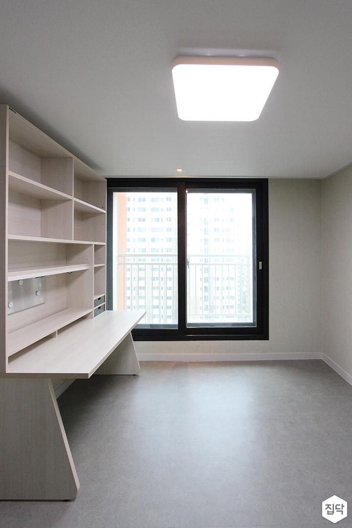 방,책상,책장,화이트,LED조명