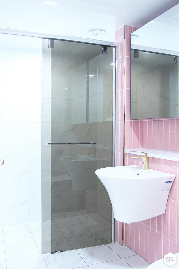 방,핑크,세면대,모던,골드,젠다이,샤워부스,유리파티션