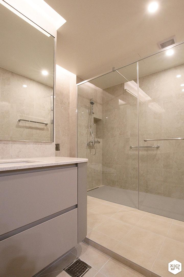 욕실,그레이,모던,샤워부스,유리파티션,수납장,간접조명