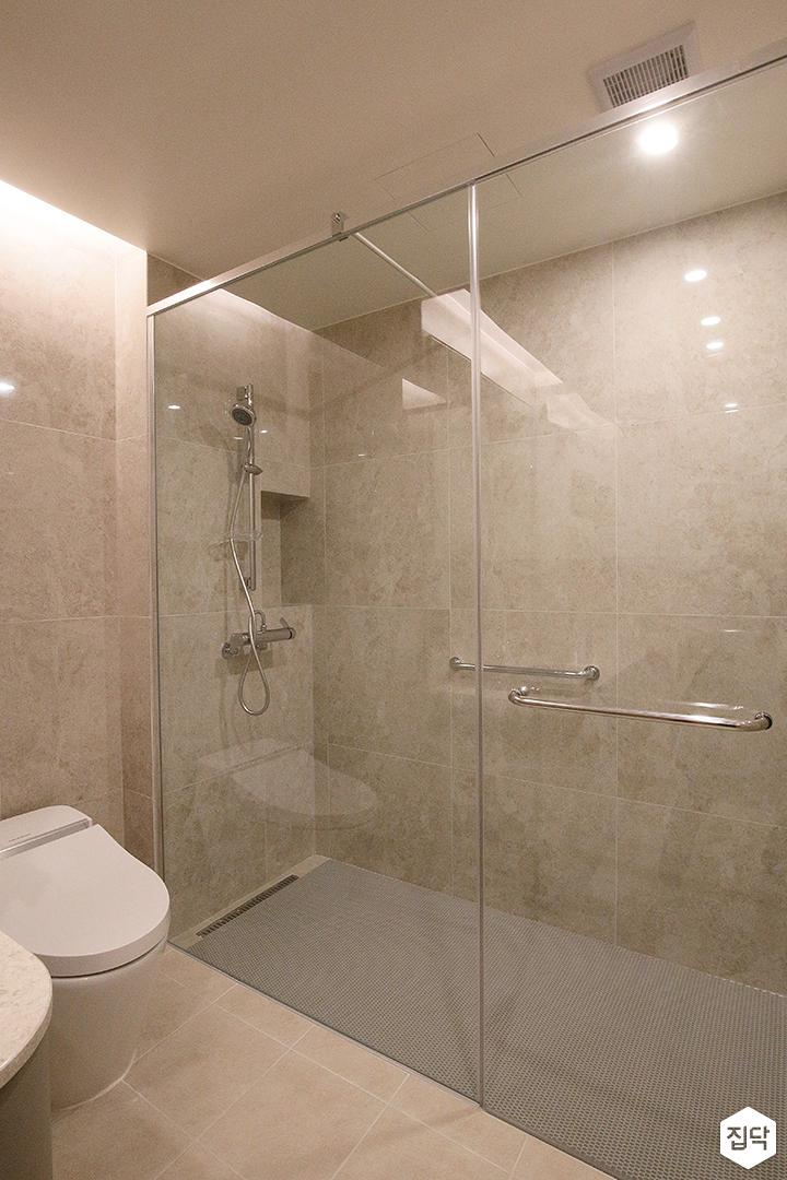 욕실,그레이,모던,샤워부스,유리파티션,간접조명