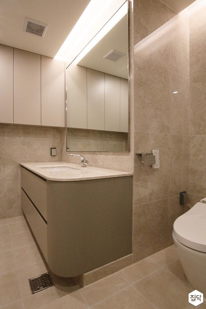 욕실,그레이,모던,유리파티션,간접조명,수납장,세면대
