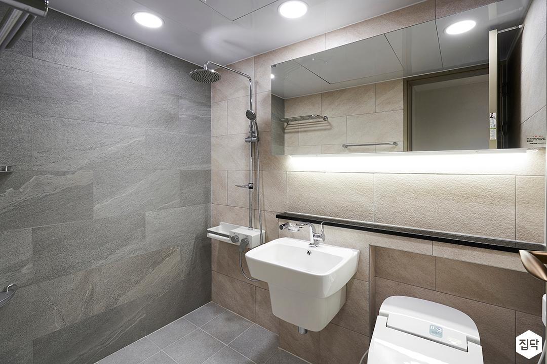 그레이,베이지,심플,모던,슬라이딩거울,간접조명,세면대,화장실